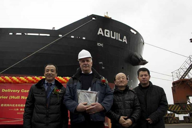 Fourteen per cent reduction in fuel oil consumption confirmed in new bulk carrier delivered today to operator Delphin at Jiangsu Hantong