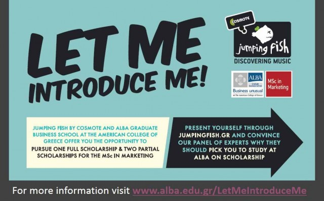 """Jumping Fish by COSMOTE and ALBA offer Scholarships for the MSc in Marketing program through the competition """"Let Me Introduce Me"""""""