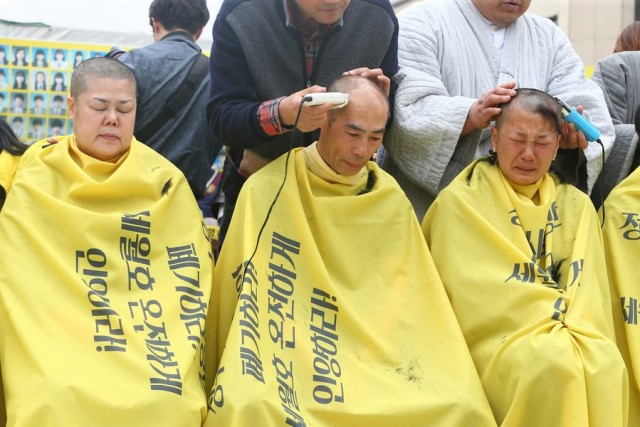 Family of missing in the Sewol ferry sinking protest
