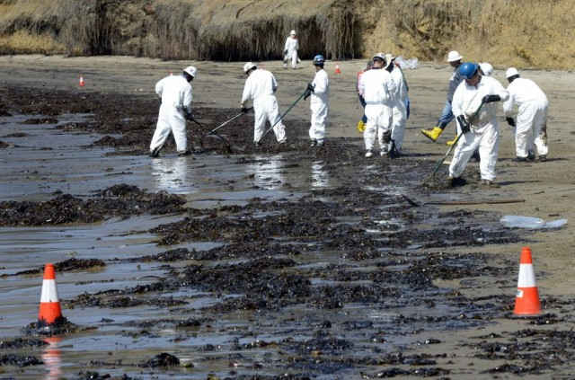 Oil spill on beach near Santa Barbara