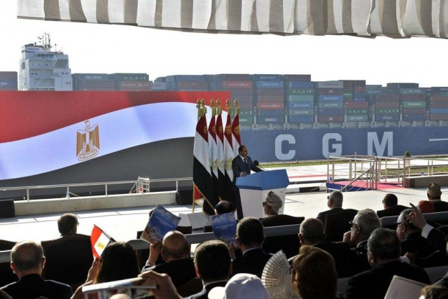New addition to Suez canal opened to shipping with great fanfare