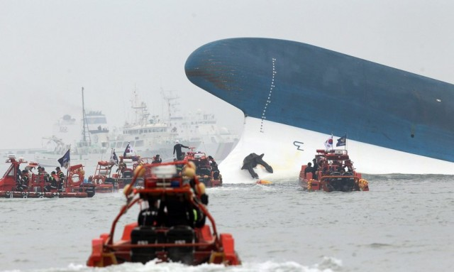 Ferry sinking off South Korea with 450 people on board