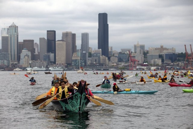 sHellNo Kayak Flotilla protest against Shell's drilling plans in the Arctic