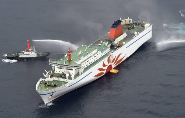 Θρίλερ με φωτιά σε RoRo στις Ιαπωνικές ακτές