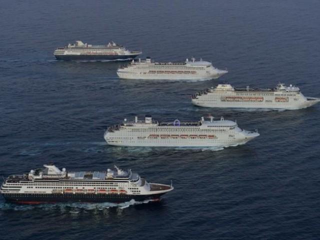 Πέντε κρουαζιερόπλοια της P&O εισέρχονται μαζί στο λιμάνι του Σύδνεϋ