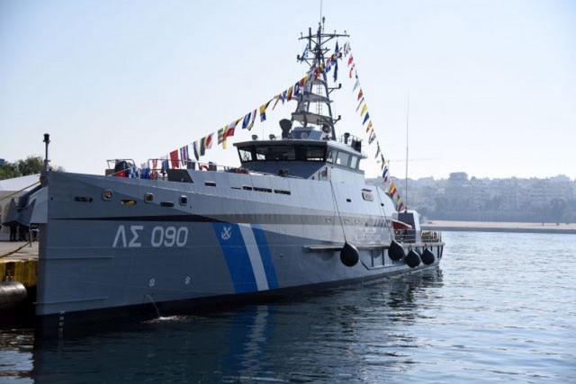 """Τελετή ένταξης του νεότευκτου περιπολικού σκάφους ανοικτής θαλάσσης Λιμενικού Σώματος """"090"""", ΓΑΥΔΟΣ"""