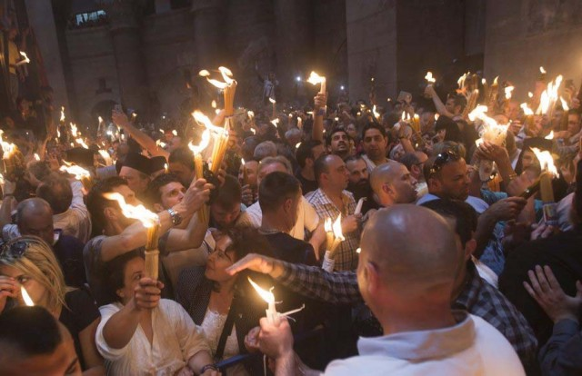 Miracle of the Holy Fire in the Church of the Holy Sepulchre in Jerusalem the day before Orthodox Easter