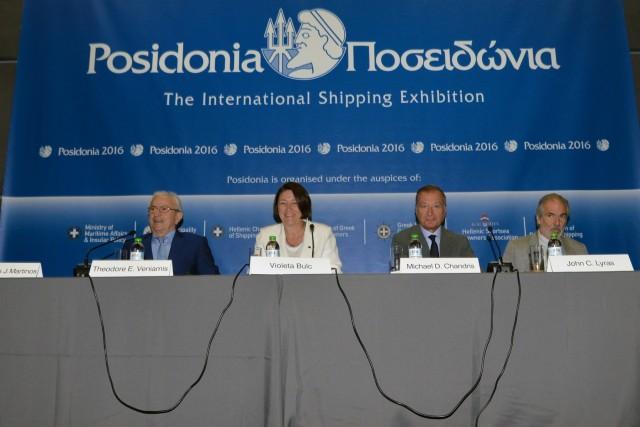 Η Ένωση Ελλήνων Εφοπλιστών και η Ευρωπαία Επίτροπος σε κοινή συνέντευξη Τύπου στα Ποσειδώνια 2016