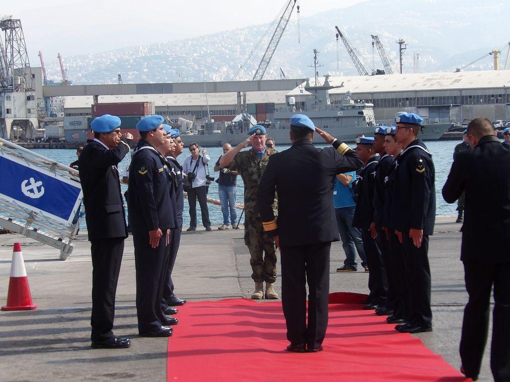 Στιγμιότυπο από τη συμμετοχή ΤΠΚ ΡΙΤΣΟΣ στην τελετή για την 10η επέτειο από την συγκρότηση της διεθνούς ναυτικής δύναμης UNIFIL