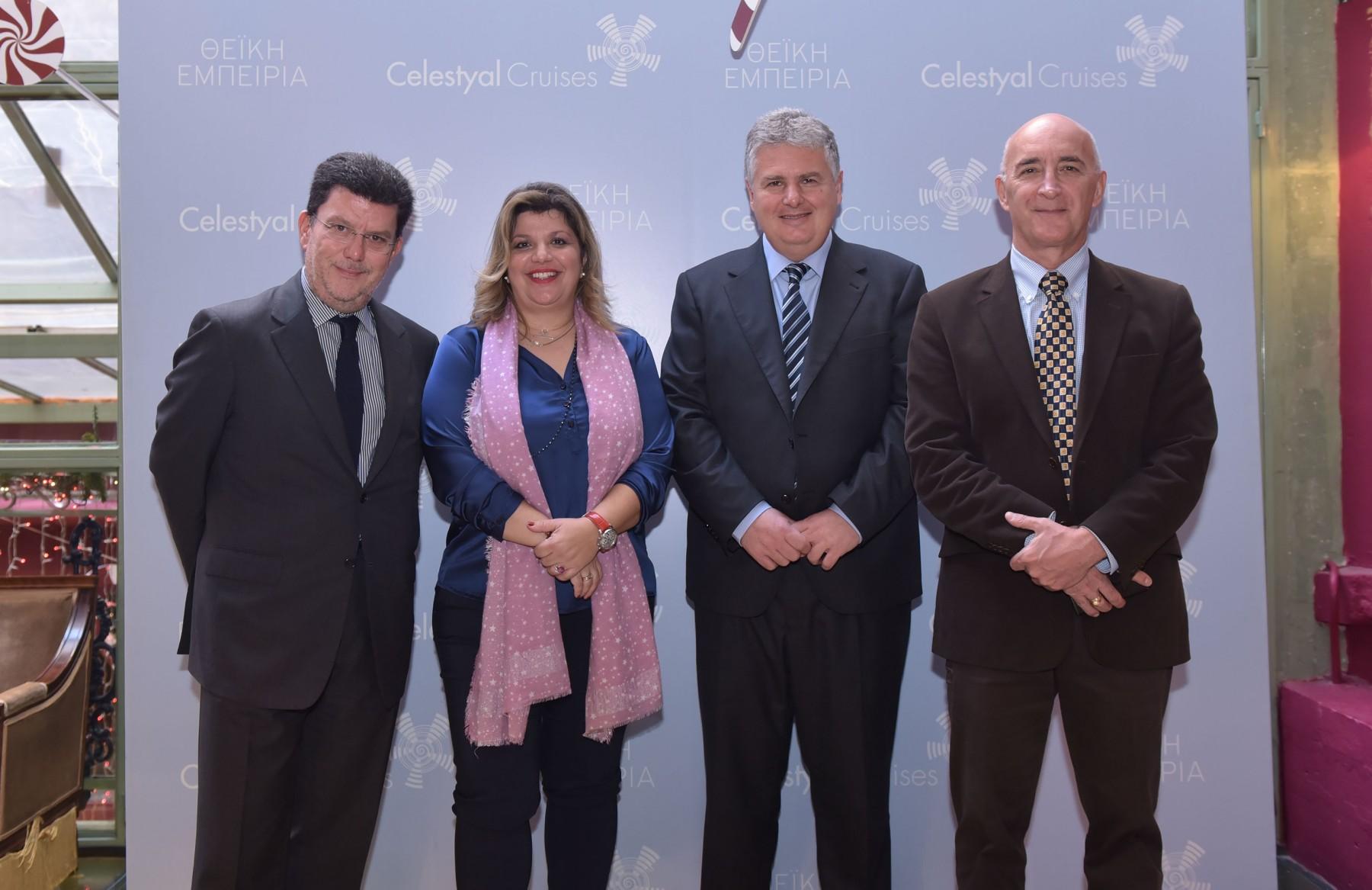Από αριστερά: κ. Πυθαγόρας Νάγος, Αντιπρόεδρος Πωλήσεων - κα Φρόσω Ζαρουλέα, Διευθύντρια Δημοσίων Σχέσεων - καπ. Γιώργος Κουμπενάς, Αντιπρόεδρος Επιχειρήσεων - Κυριάκος Αναστασιάδης, Διευθύνων Σύμβουλος Celestyal Cruises