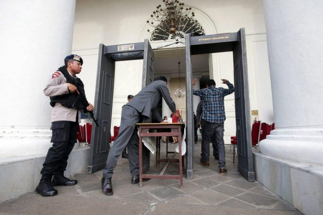 Indonesian police increase security measures ahead of the Christmas holiday period