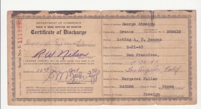 Πιστοποιητικό λήξης μπάρκου του Γεωργίου Σιμάτου από το Λίμπερτυ Margaret Fuller Γεωργίου Λ. Σιμάτου
