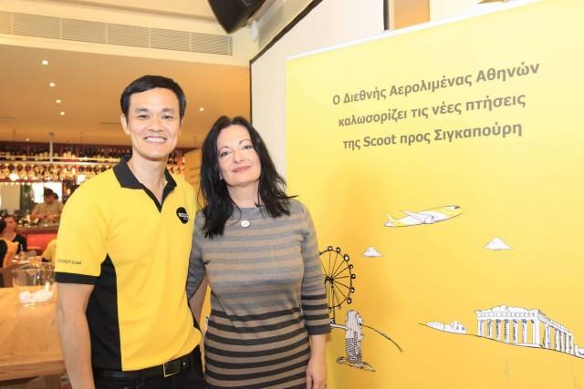 Ο CEO της Scoot, Lee Lik Hsin με τη Διευθύντρια Marketing & Επικοινωνίας του ΔΑΑ, Ιωάννα Παπαδοπούλου