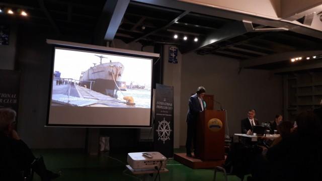 Στο βήμα, ο κ. Γεώργιος Ξηραδάκης, Διευθύνων Σύμβουλος της XRTC Business Consultants Ltd. και Πρόεδρος της Εκτελεστικής Επιτροπής του International Propeller Club of the United States – International Port of Piraeus