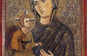 Ψηφιδωτή εικόνα με την Παναγία Οδηγήτρια. Κωνσταντινούπολη (;) τέλη 12ου αιώνα. Ιερή Μονή Αγίας Αικατερίνης Σινά, Αίγυπτος.  ΑΠΕ-ΜΠΕ/Μουσείο Μπενάκη