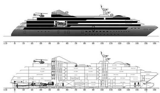 Outline of expedition vessel