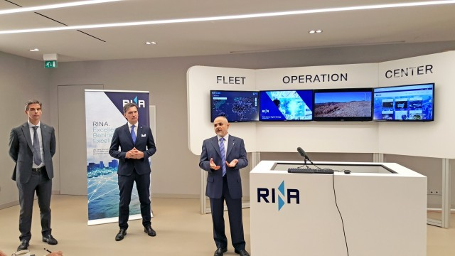 (A-Δ) Ο κ. Alessandro Pescetto, Head of Marine Innovation Sector, RINA, o Paolo Moretti, Marine Strategic Development, Executive Vice President, Rina και ο κ. Σπυρίδων A. Ζολώτας, Marine Greece & Black Sea Area Director, Rina.
