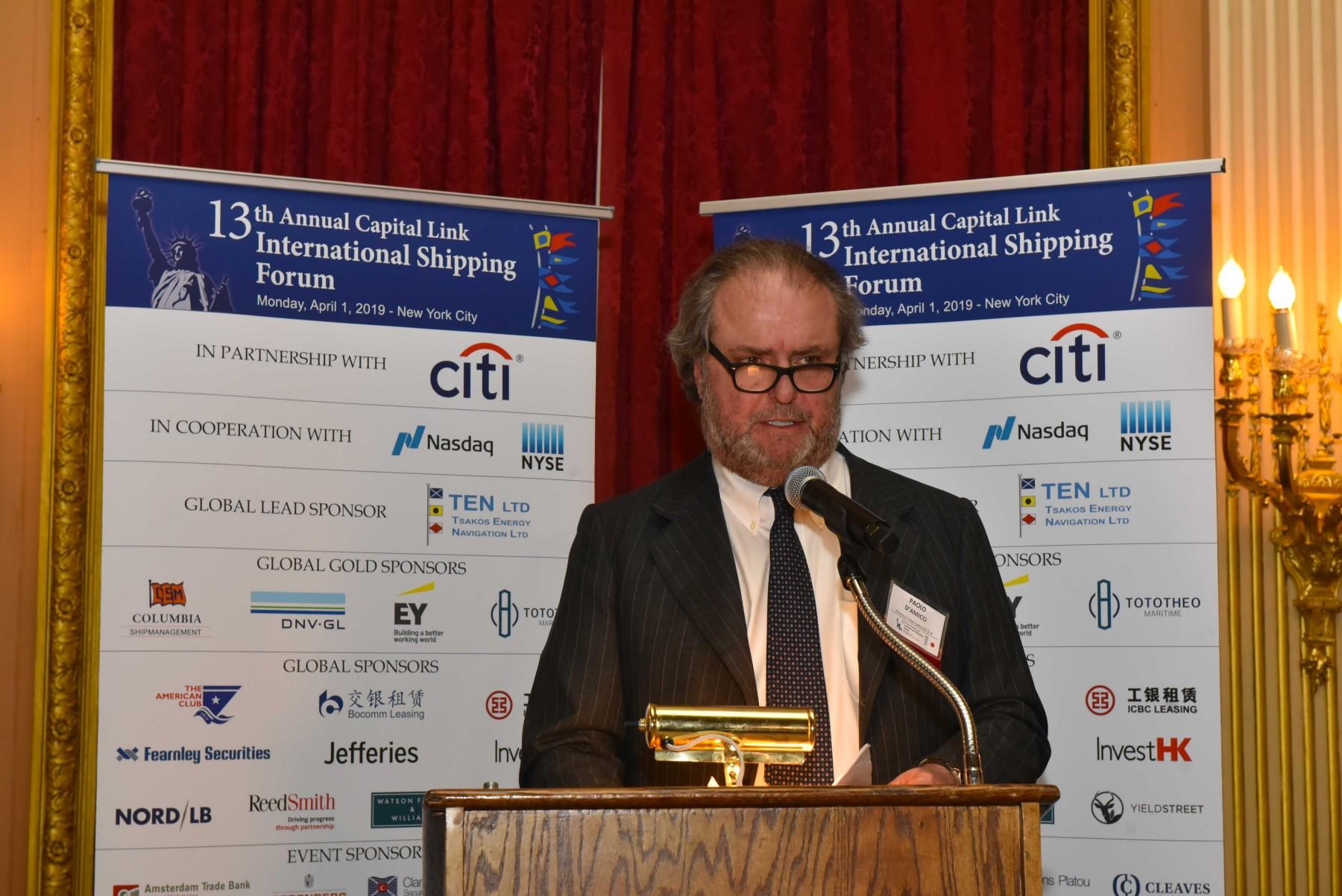 Ο Δρ. Paolo d'Amico, Chairman της INTERTANKO και Executive Chairman & CEO της d'Amico International Shipping κατά τη διάρκεια της ομιλίας του
