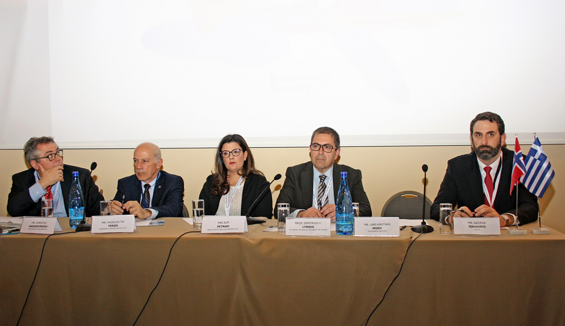 "Snapshot of the 1st Panel, on the topic of ""Technologies of the future: Electrification, LNG Fuel and Beyond."" (L-R): Mr. Christos Hadjigeorgiou, Managing Director, Almi Marine Management SA., Capt. Vassilis Terzis, Managing Director of Queensway Navigation Co. Ltd., Mrs. Elpi Petraki, Vice President of HSSA & WISTA and Enea Management Inc., Dr. Dimitrios V. Lyridis, Associate Professor at the School of Naval Architecture, National Technical University of Athens, Mr. George Teriakidis, Regional Business Development Manager, DNV GL"