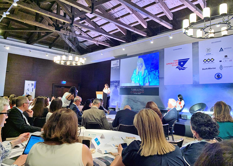 Στιγμιότυπο από την ομιλία της Προέδρου της WISTA International και Co-CEO της Tototheo Maritime, κας Δέσποινας Παναγιώτου- Θεοδοσίου