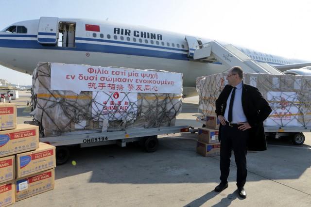 Υγειονομικό υλικό προσφορά για την Ελλάδα από την Κίνα