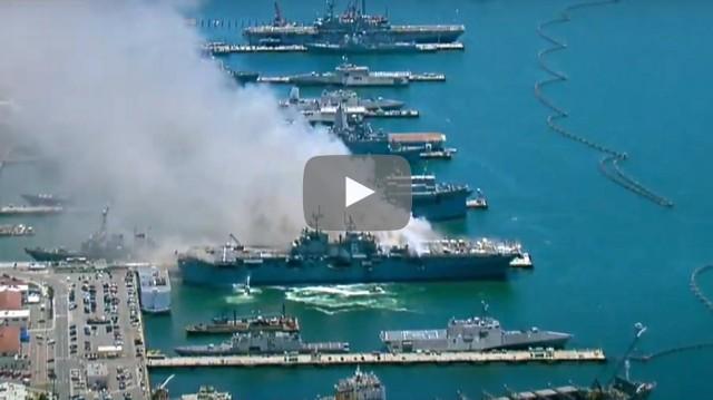 Έκρηξη σε αμερικανικό πολεμικό πλοίο (βίντεο)