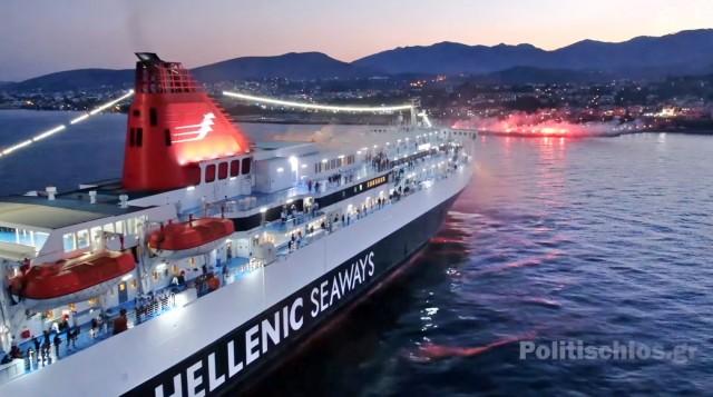 Συγκίνηση και θαυμασμός στη Χίο: Πλοία αποδίδουν χαιρετισμό στην Αγία Παρασκευή Καστέλλου