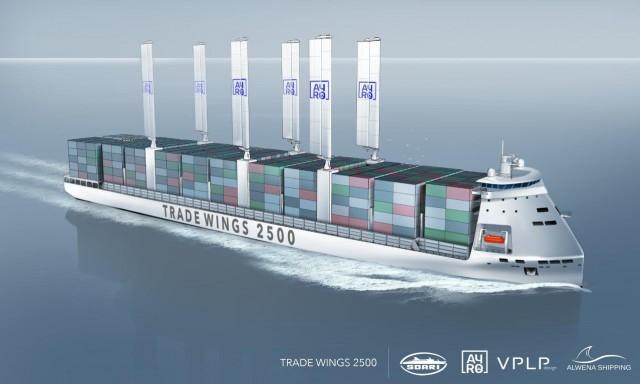 Καινοτόμο containership με ιστία και LNG