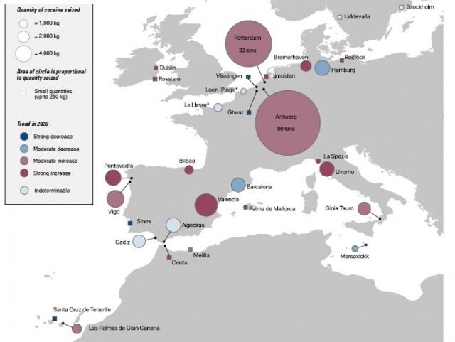 Εμπορευματικές ροές σε λιμένες Αφρικής και Ευρώπης - Ποσότητες κατασχεμένης κοκαΐνης (2020) (Πηγή: Έκθεση Europol-UNODC)